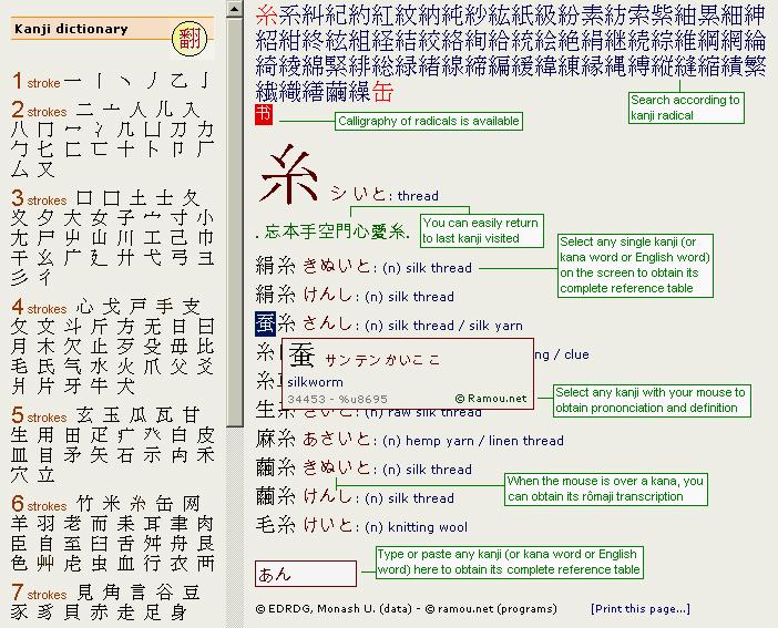 漢字字典 Interactive Japanese kanji dictionary Dictionnaire ...